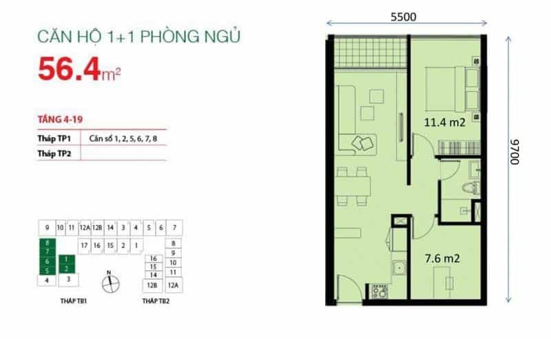Căn hộ chung cư The Botanica 1+1 Phòng ngủ